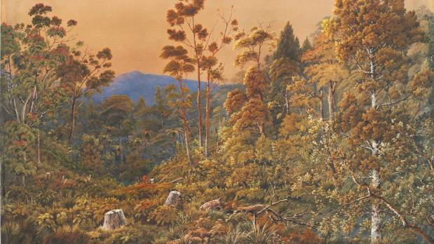 Painter Alfred Sharpe produced a number of watercolours of New Zealand landscapes in the late 1800s.