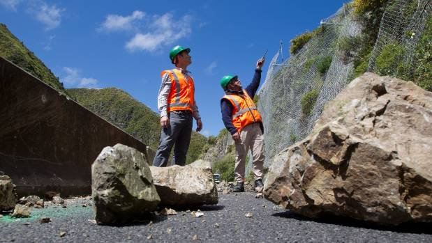 Gorge project manager Mark Martin and site supervisor Larry Green, in 2012, inspecting rockfall on the gorge road, after ...