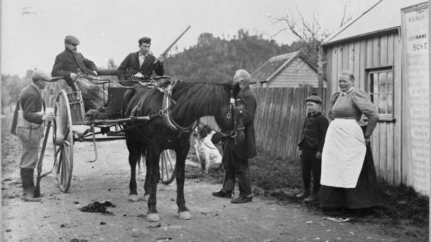 Hans Olsson, the last tollkeeper at the settlement called Gorge, at the Woodville end of the gorge, collecting tolls ...