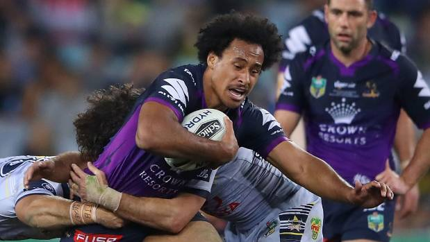 Melbourne Storm's Felise Kaufusi in action during the NRL grand final.