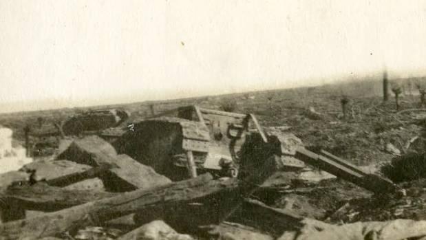 A wrecked tank on the battlefields of Passchendaele.