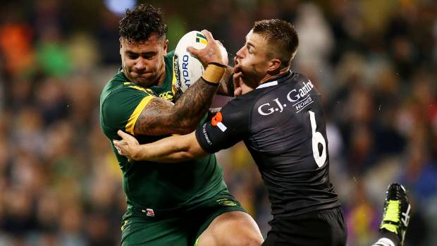 Andrew Fifita playing for the Australia against the Kiwis in May, 2017. He'll be turning out for Tonga six months later.