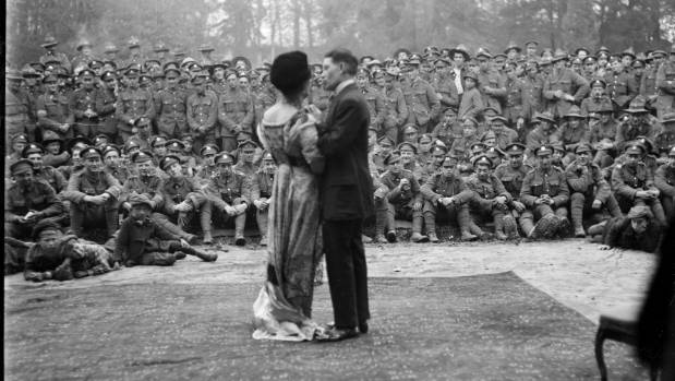 Actors in an open air performance during World War I, France.