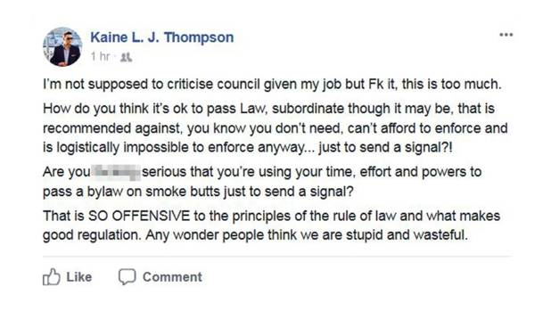 """Kaine Thompson's Facebook post said the council's decision was """"offensive to the principles of the rule of law""""."""