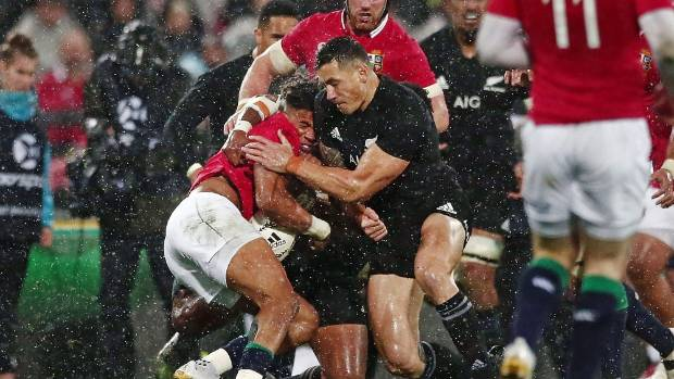 Sonny Bill Williams hits Anthony Watson with a high tackle during the second test against the British and Irish Lions