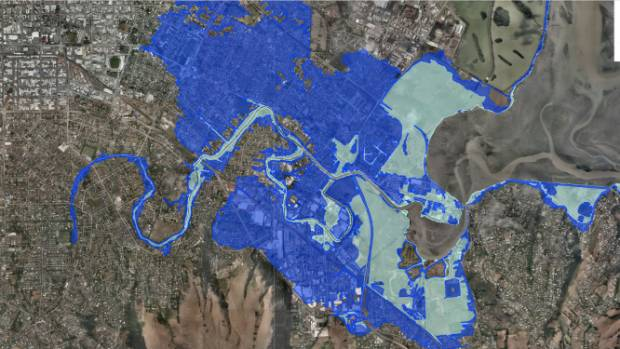 """A projected """"one in 100 year flood"""" with 1m sea-level rise."""