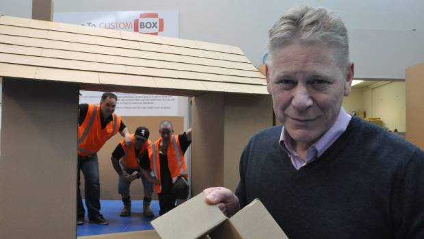Packaging Products director Cameron Tooley, right, with the custom box team, from left, Lincoln Hart, Leith Tangiwai and ...