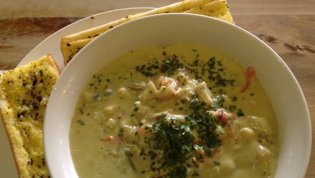 The seafood chowder is a hearty lunch choice at Rangiriri Hotel.