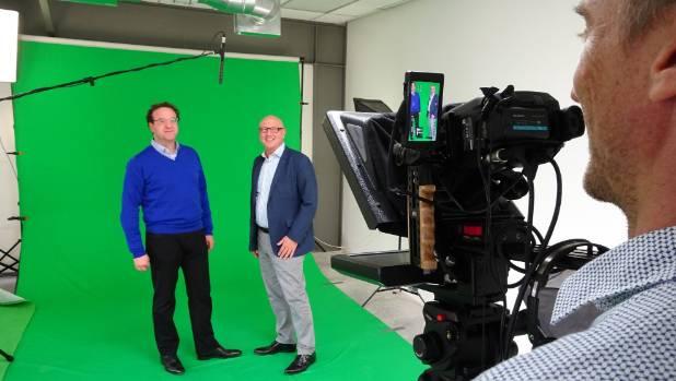 Best Wool Carpets CEO Yvar Monasch, head of logistics Henk Groenewegen and cameraman Glen Saunders  preparing a video as ...