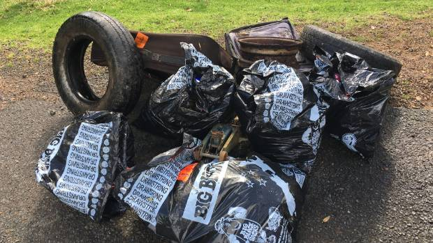 Just some of the rubbish picked up by Diana Warnes and Will Ryan down a cliff off Newton Rd, Oneroa.