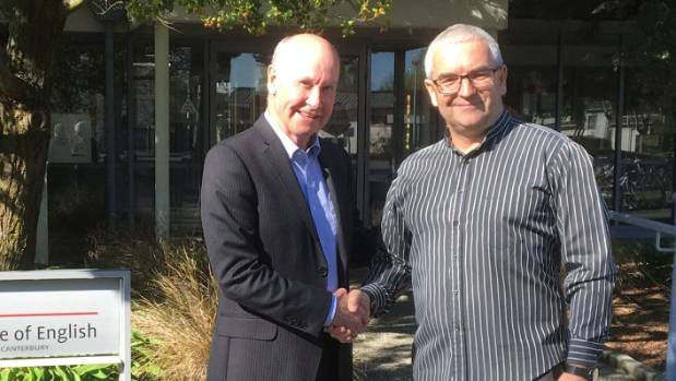 Christchurch College of English owner Rob McKay with UCIC principal Stewart Brougham. UCIC is a Navitas initiative with ...