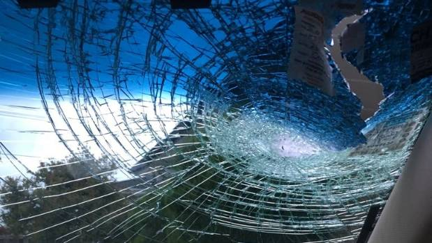 The rock, thrown from a motorway overbridge, smashed through the windscreen and into the car, hitting Singh.