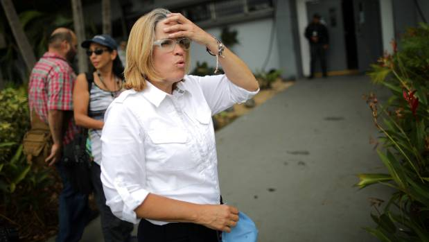 San Juan Mayor Carmen Yulin Cruz stands outside the government centre at the Roberto Clemente Coliseum days after ...
