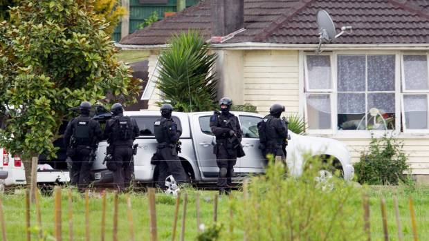 Police cordoned off Maori Point Road in Whatawhata on Saturday while AOS searched a property.
