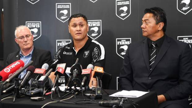 NZRL chief Alex Hayton (left), Kiwis coach David Kidwell (centre) and Kiwis selector Tawera Nikau face the media during ...