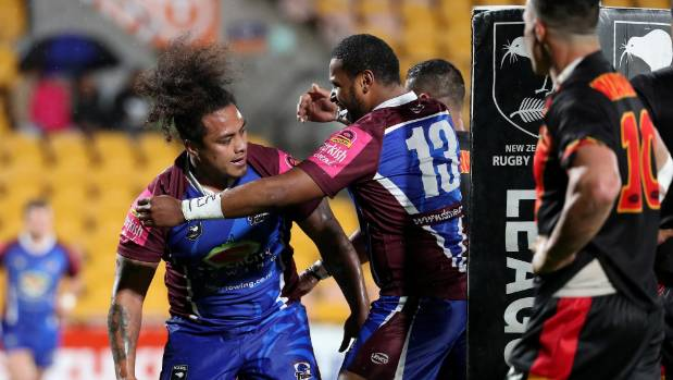 Siliga Kepaoa scores one of Akarana's five tries in their win over Waikato in the final of the rugby league national ...