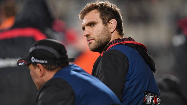 Luke Whitelock could only watch from the bench as his team lost the Ranfurly Shield to Taranaki last week.