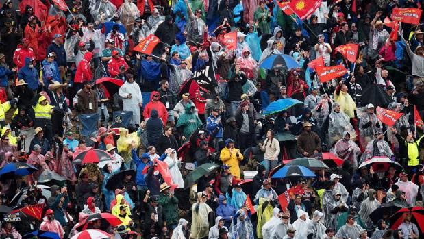Fans got a soaking at Mount Panorama.
