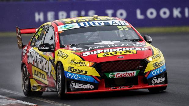 Chaz Mostert drives the #55 Supercheap Auto Racing Ford Falcon FGX.