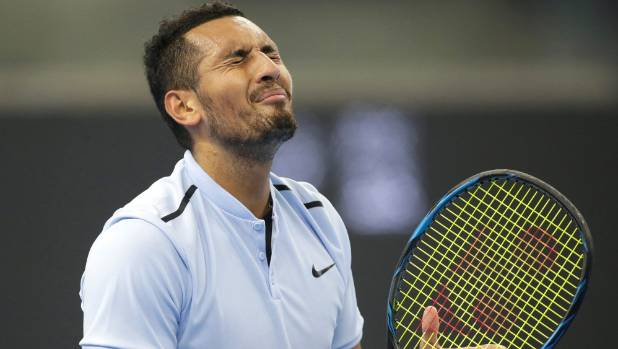 Nick Kyrgios reacts after losing a point against Rafael Nadal.