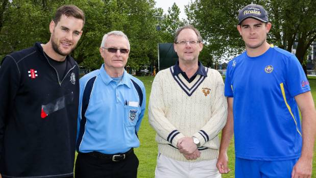 Umpires Keith Rawlings and Glynn Hammond with team captains Grafton's Nick Hendrie and Takapuna's Will O'Donnell ahead ...