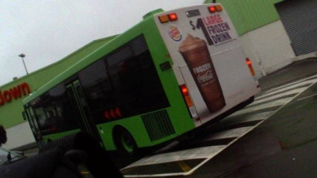 The backs of buses featured prominent advertising of sugary drinks.