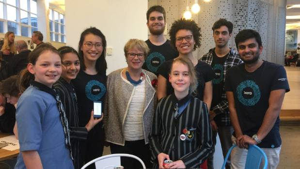 (From left:) Eimear Fitzgerald, Jaskiran Rahi and Isabel Haupt demonstrate Evac-U- Buddy at the Xero showcase for ...