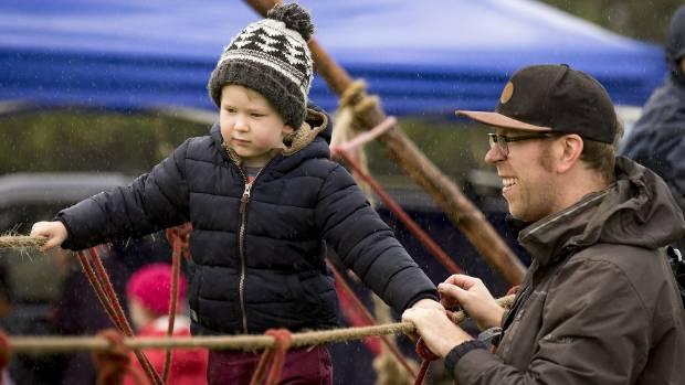 3 year old Michael Vaudrey of Ellerslie with dad Rob Vaudrey.