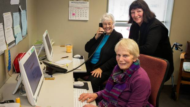 Citizens Advice Bureau manager Suzanne Cullimore stands beside volunteers Jill Bowden, back, and Robin Hamilton. The ...