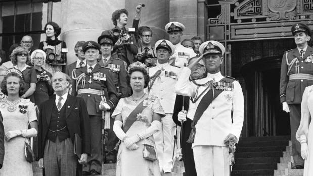 Queen Elizabeth and Prince Philip, the Duke of Edinborough on the steps of Parliament during the opening of Parliament ...