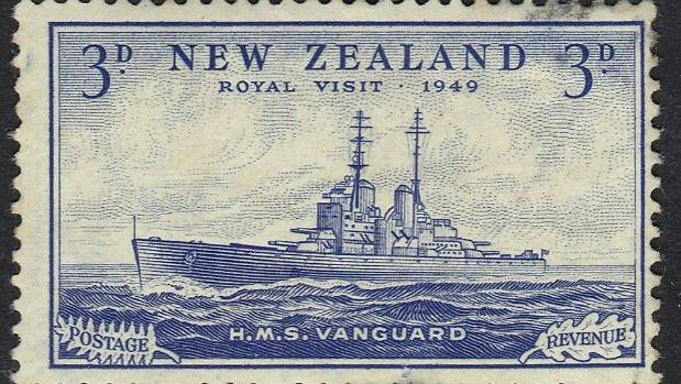 The mint-condition HMS Vanguard postage stamp with an estimated value of $50,000.