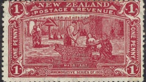 The mint condition 1906 penny claret postage stamp, estimated to be worth around $30,000.