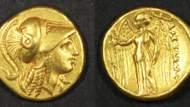 A Greek, Macedon, Alexander III The Great stater coin, with an estimated value of $4500.