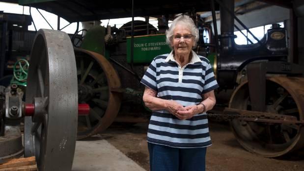 Esma Stevenson among the big units at the Tokomaru Steam Engine Museum.