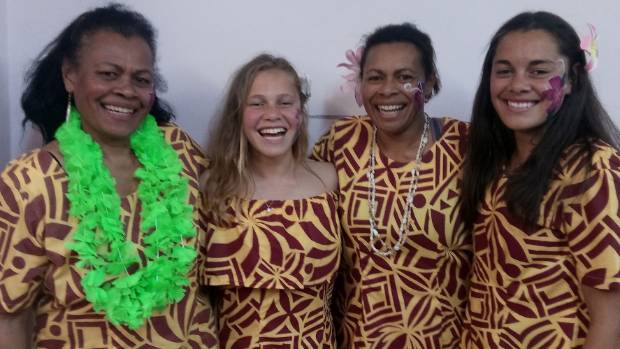Vaui Bakani, Lia Chapman, 13, Elaisa Chapman and Tegan Chapman, 15, of Cromwell at Fiji Day celebrations in Cromwell on ...