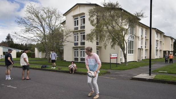 University of Waikato students kick a rugby ball around outside Bryant Hall, where rooms for Sevens fans will go for ...
