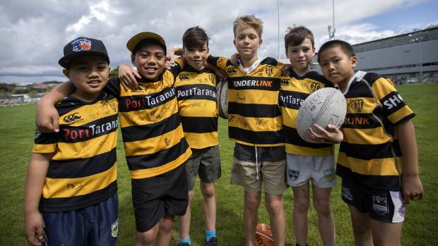 Tuni Lea, 7, JD Lea, 8, Taine Beasley, 10, Ryan Roberts, 10, Jae Beasley, 9, and Fokus, 9, were out supporting their team.