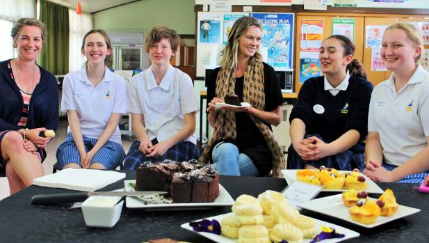 Cromwell College home economics students enjoy a celebrity afternoon tea with Chelsea Winter. From left, teacher Tineke ...