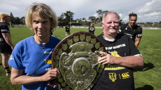 Ann Fairhurst and David Blyde, two of Taranaki's biggest supporters, with the shield.