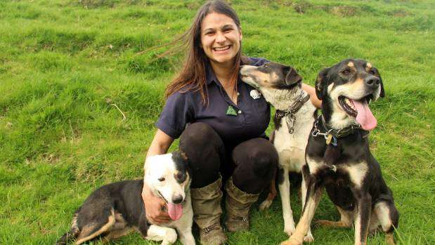 Dayanne Almeida with her team of dogs - Millie, Day and Pearl.