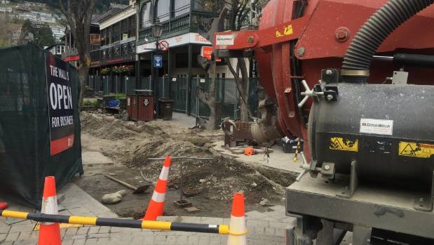 A new pipe was installed in Queenstown Mall on Monday after a water main burst on Wednesday evening.