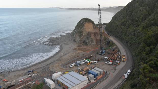 Construction of the 80-metre Irongate Bridge, north of Kaikōura on State Highway 1, in August. (File photo)