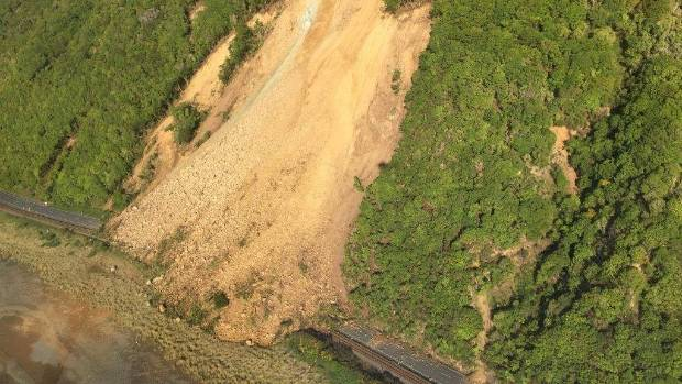 Huge slips closed State Highway 1 either side of Kaikōura after the November earthquake. (File photo)