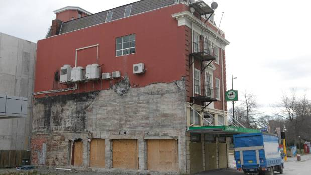 Earthquake damaged and boarded up  in 2012.