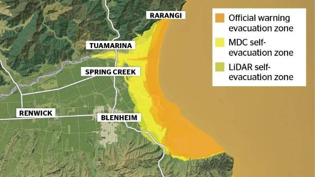 A tsunami map adapted from the Marlborough District Council website, showing the different evacuation zones, depending ...