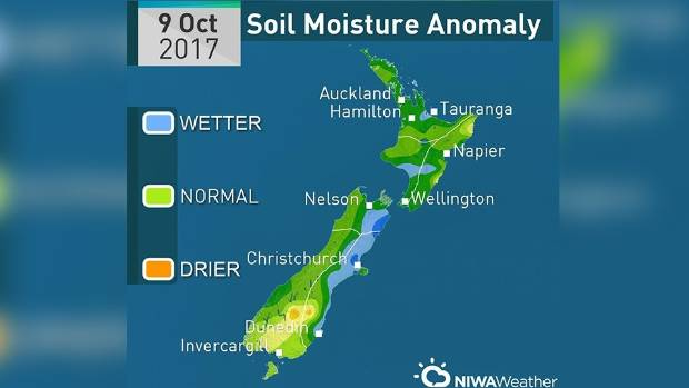 The only drier than normal patches are in the lower half of the South Island and a pocket around Gisborne. The dark ...