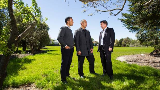 Regenerate Christchurch's partnerships and engagement manager Chris Mene, chief executive Ivan Iafeta and residential ...