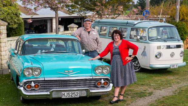 Phil Rooke and Mary-Jean Wood with their cars, a 58 Chevrolet Bel Air and a 79 VW Combi, ahead of the first cruise of ...