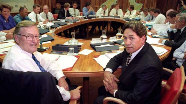 A blast from the past: Prime Minister Jim Bolger and Deputy Prime Minister Winston Peters pose at the start of a Cabinet ...