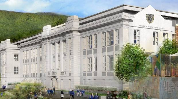An impression of the college's main block once the redevelopment is complete. The facade has been kept, but behind the ...